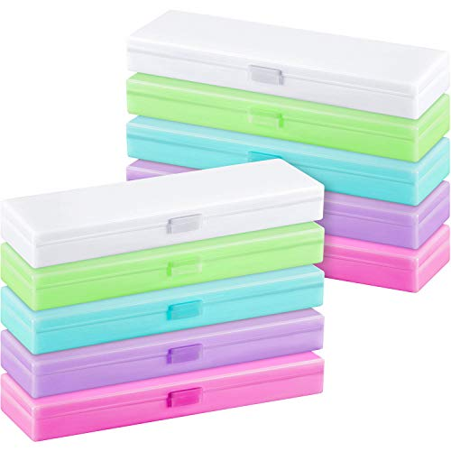 - Leinuosen 8 Pieces Translucent Pen Pencil Box, Bright Color School Pencils Stationery Storage Box Pen Holder Box Organizer, School Supplies Pencil Box for Students