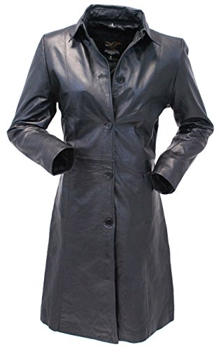 Jamin' Leather Extra Long Button Down Lambskin Leather Coat for Women (3XL) Button Down Leather Coat