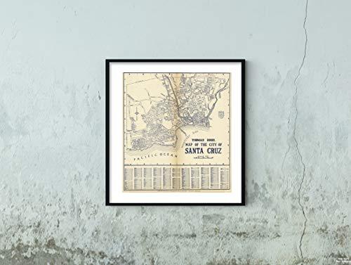 Map|Thomas Bros. of The City of Santa Cruz, California 1938|Historic Antique Vintage Reprint|Size: 22x24|Ready to Frame