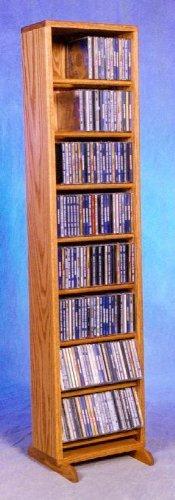 (12.25 in. Dowel CD Storage Tower (Honey Oak))