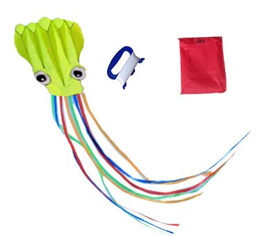 Mayco Bell 4 M Largest Green Octopus Multicolor Tail Portable Kites for Adults - Perfect Toy for Kids and Children Outdoor Games Activities - Fold-able Large 48 x 217 Inches | Extra 328 Feet of Line