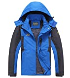 Cheerun Men's Outdoor Sports Hooded Windproof Jacket Waterproof Rain Coat Blue Large