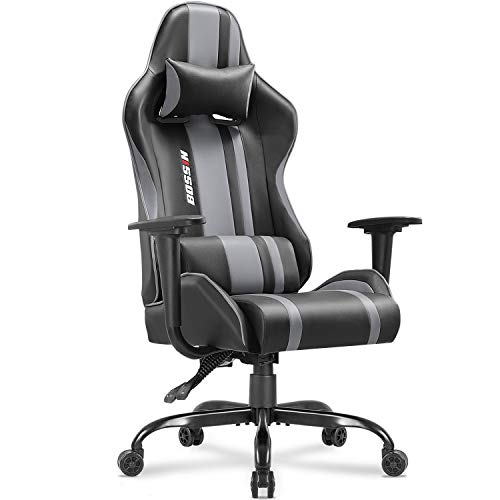 BOSSIN Gaming Chair Racing Style High-Back Computer Chair Swivel Ergonomic Executive Office Leather Chair Video Gaming Chair(Gray