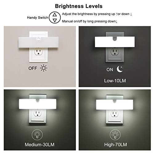 DEWENWILS 2 Pack LED Night Light, 3 Brightness Levels Nightlight with Dusk to Dawn Sensor, Plug in Bright Soft White Night Lights for Garage Hallway Bathroom Kitchen and Living Room, UL Listed by DEWENWILS (Image #1)