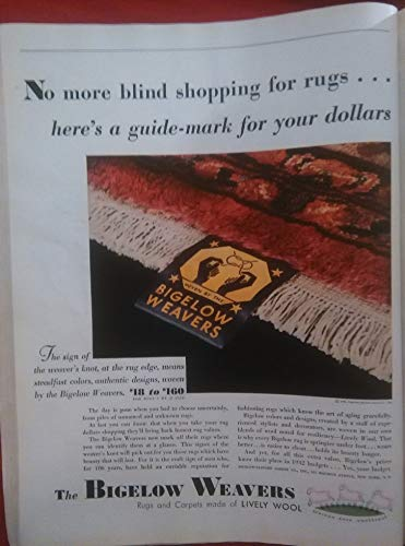 Bigelow Carpet - 1932 BIGELOW WEAVERS RUGS & CARPETS * No more blind shopping for rugs.- * LARGE VINTAGE COLOR AD - USA - BEAUTIFUL ORIGINAL !!