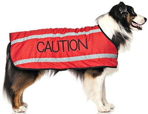 CAUTION Red S-M M-L L-XL Warm Dog Coats Waterproof Reflective Fleece Lined (Do Not Approach) Prevents Accidents By Warning Others of Your Dog in Advance (L-XL Back 23