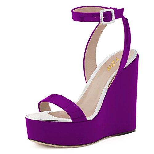 YDN Women Open Toe High Heel Wedge Sandals Ankle Straps Platform Pumps Dress Shoes Purple (Purple Open Toe Platform)