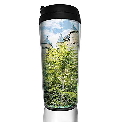 Stainless Steel Insulated Coffee Travel Mug,Wizard Castle in Woods Replica in Japan Picture,Spill Proof Flip Lid Insulated Coffee cup Keeps Hot or Cold 11.8oz(350 ml) Customizable printing