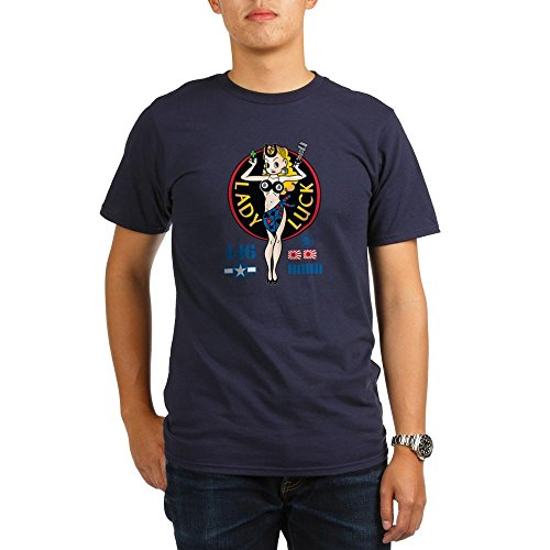 CafePress - Lady Luck Nose Art Organic Men's T-Shirt (dark) - Organic Men's T-Shirt, Soft Cotton Tee