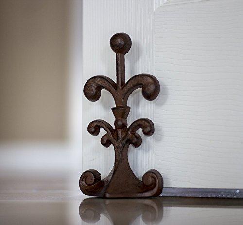 Comfify Fleur De Lis Cast Iron Door Stop Decorative Door