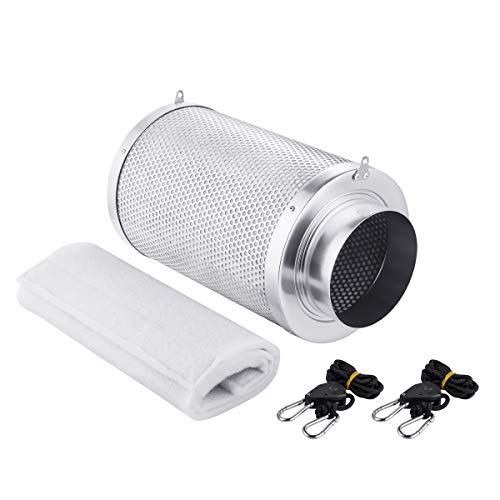 Growtent Garden 6 inch Air Carbon Filter Odor Controler Filled by Australia Virgin Charcoal with Reversible Flange for Inline Fan, Prefilter Included. (6 inch) For Sale