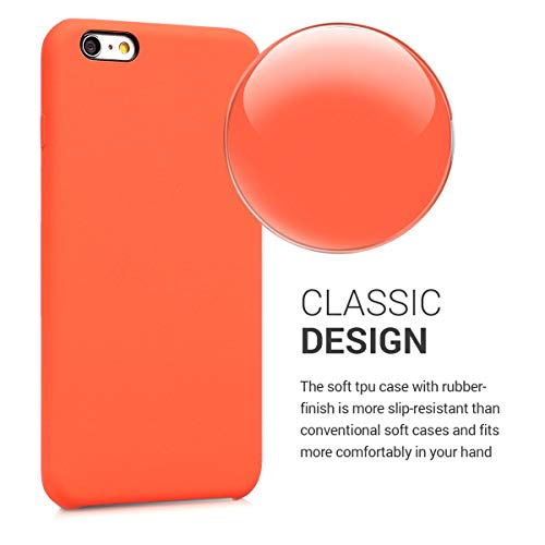 kwmobile TPU Silicone Case Compatible with Apple iPhone 6 Plus / 6S Plus - Soft Flexible Rubber Protective Cover - Orange