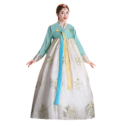 Ez-sofei Women's Korean Traditional Costume Embroidered Hanbok Dresses(M,F-Beige) (Hanbok Costume)
