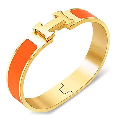 (Glenda Dunn Stainless Steel Wide 18MM Fashion Buckle Bangle Enamel Bracelet Perimeter 6.7