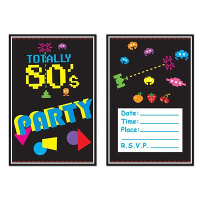 1980 Themed Costumes (Beistle 58262 8-Pack 80's Invitations, 4-Inch by 5-1/2-Inch)