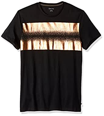 Calvin Klein Men's Short Sleeve Distressed Foil Logo Crew Neck T-Shirt, Black, Small