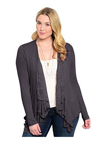 2LUV Plus Women's Lace Open Drape Plus Size Cardigan Reg Shoulder-Charcoal 1XL (T19310X2)
