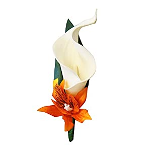 "Angel Isabella Perfect for Fall weddings-Keepsake 20"" Long Cascade bouquet and boutonniere-Shades of Oranges(White ribbon) 2"