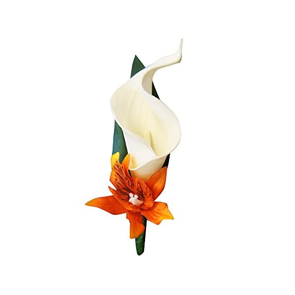 Angel-Isabella-Perfect-for-Fall-weddings-Keepsake-20-Long-Cascade-bouquet-and-boutonniere-Shades-of-OrangesWhite-ribbon
