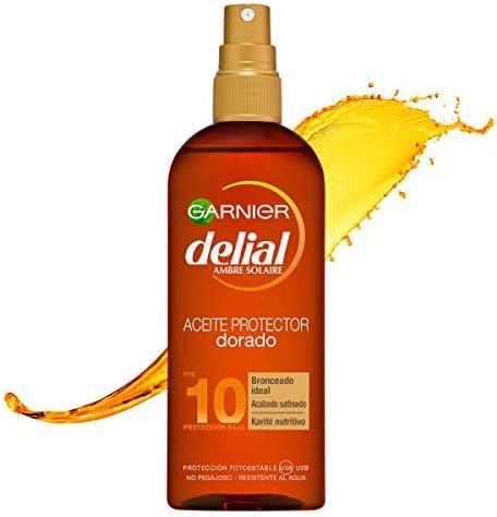 Garnier Delial Dorado Sublime Aceite Protector Solar para Pieles Morenas que se Broncean Fácilmente, Protección Baja SPF10 - 150 ml