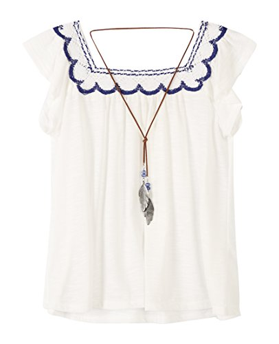 Neck Peasant Blouse (Speechless Big Girls' Square Neck Peasant Top With Necklace, Eggshell, M)
