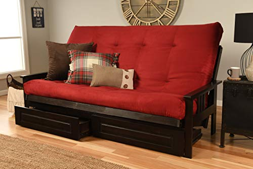 (Jerry Sales Queen or Full Size Excelsior    Espresso Futon Frame w/ 8 Inch Innerspring Mattress Sofa Bed Wood Futons (Red Matt, Frame, Drawers (Full Size)))