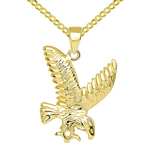 14k Solid Yellow Gold Soaring American Eagle Animal Pendant with Cuban Chain Necklace, 16