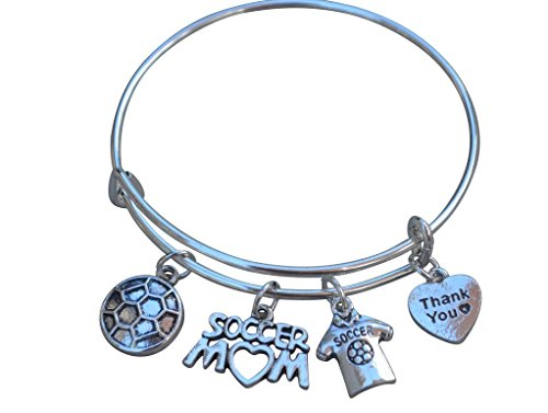 Infinity Collection Soccer Mom Charm Bangle Bracelet - Soccer Gifts- Soccer Mom Jewelry - - Perfect Soccer Mom Gifts!! (Soccer Mom Charm)