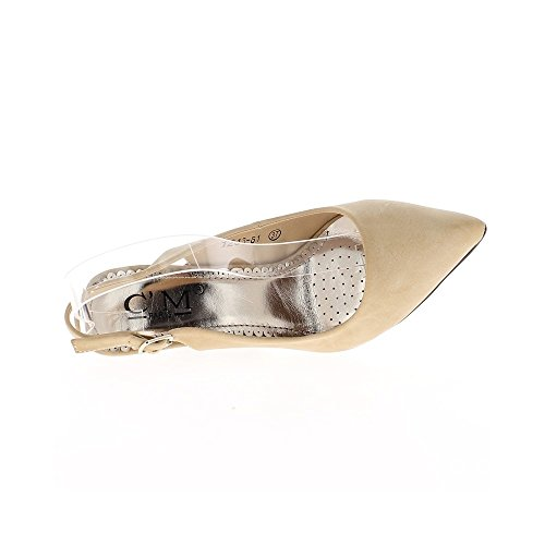 Escarpins bride arrière beiges mat à talons de 10cm pointus