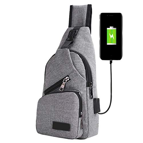 Men's Canvas USB Rechargeable Chest Bag Small Backpack Messenger Bags