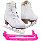 Jackson Ultima Excel JS1291 Girl's Ice Skates Width: Medium - C/Size: Youth 13.5 (Kid's) Bundle with Skate Guards