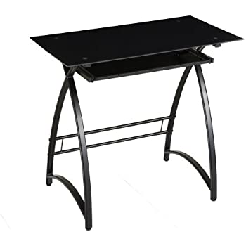 Walker Edison Glass Computer Desk, Black/Black