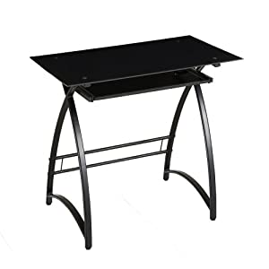 Amazon Com Walker Edison Glass Computer Desk Black Black