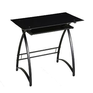 Amazon Com Walker Edison Glass Computer Desk Black Black
