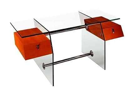 Glass Desk W Suspended Locking Drawers U0026 Stainless Steel Stretchers   Vitra