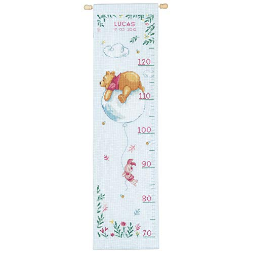 (Disney Winnie The Pooh 'Winnie on Balloon' Height Chart Counted Cross Stitch)