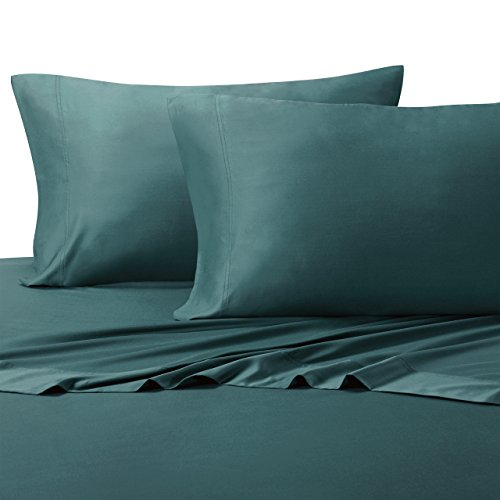 (Royal Tradition 100 Percent Bamboo Bed Sheet Set, Queen, Solid Teal, Super Soft and Cool Bamboo Viscose 4PC Sheets)