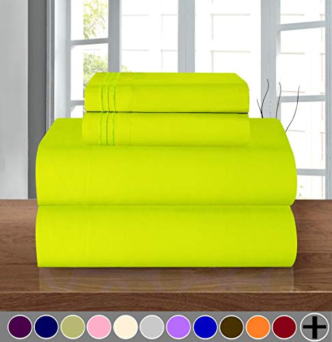 - Elegant Comfort Luxury Soft 1500 Thread Count Egyptian Quality 3-Piece Sheet Wrinkle and Fade Resistant Bedding Set, Deep Pocket up to 16inch, Twin/Twin XL, Lime