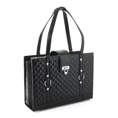 Fashion File Organizer Tote with Classy Black Faux ()