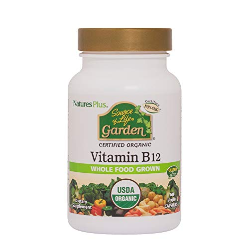 Natures Plus Source of Life Garden Organic Vitamin B12-1000 mcg methylcobalamin, 60 Vegan Capsules - Whole Food Vitamin B12 Supplement - Vegetarian, Gluten Free - 60 Servings