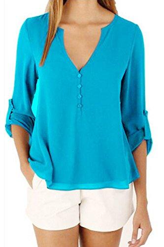 Las Mujeres Con Cuello En V Gasa Blusa De Verano Camiseta Sin Mangas Blue