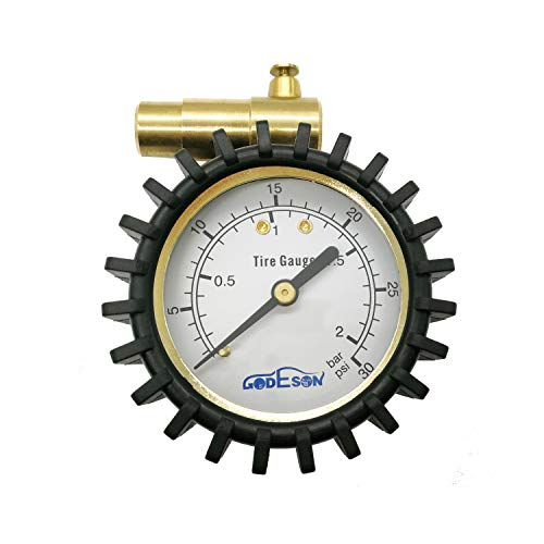 GODESON Presta Valve Pressure Gauge with Air Pressure Relief for Mountain Bicycle Fat Tires,Low Pressure Range to 30 PSI/2BAR
