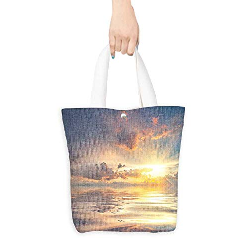 Canvas Tote Bag Mystic View of Sunset Over Sea with Reflection in Water Majestic Clouds Perfect for Shopping, Laptop W11 x H11 x D3 INCH