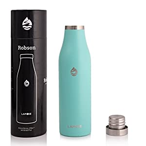 LAMOSE Robson Insulated Bottle | Stainless Steel Sports Water Bottle, BPA Free, Steel Lid, No Plastic, Dishwasher Safe, Perfect Healthy Lifestyle Gift (Turquoise, 21oz)