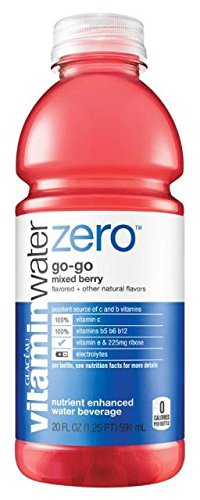 Glaceau Vitamin Water Nutrient Enhanced Water Beverage ZERO, Go-Go Mixed Berry, 20 oz (Pack of - Beverage Nutrient Water Enhanced