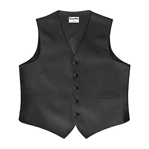 Color Satin Vest with Back Black Large Long