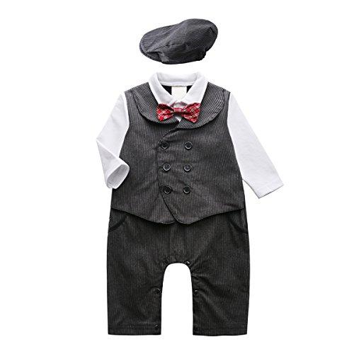 Baby Boys Gentleman Jumpsuit (White Black) - 5
