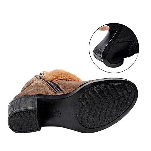 Hzjundasi Damen Winterschuhe Warm Gefüttert Schneestiefel Kurzschaft Stiefel Blockabsatz Freizeit Schuh Braun