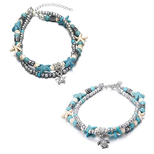 SEVENSTONE 2Pcs Handmade Starfish Turtle Anklet Beads Sea Boho Pearl Charm Anklets Foot Jewelry for Women Girls
