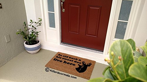 An Old Buck & His Sweet Doe Live Here Coir Funny Doormat, Size Large - Welcome Mat - Doormat - Custom Hand Painted Doormat by Killer Doormats